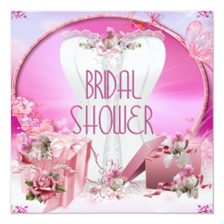 Bridal Shower Pretty White Pink Corset Floral Card