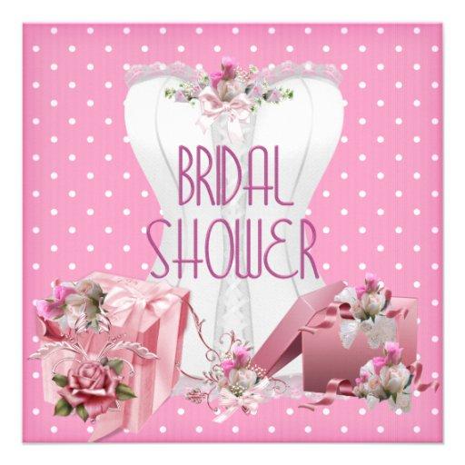 Bridal Shower Pretty White Pink Corset Polka Dot Personalized Announcements