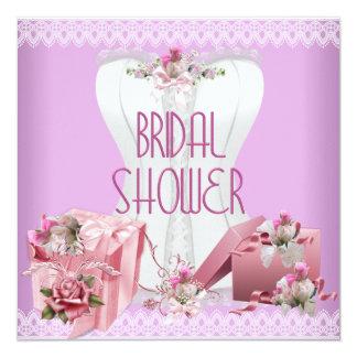 Bridal Shower Pretty White Pink Lilac Corset 13 Cm X 13 Cm Square Invitation Card