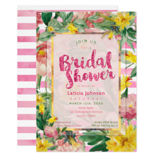 Bridal Shower | Pretty Yellow Pink Floral+Stripes Card