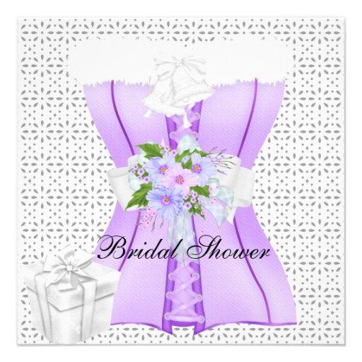 Bridal Shower Purple 2 White Corset Flower Invitation