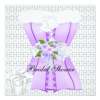 Bridal Shower Purple 2 White Corset Flower 13 Cm X 13 Cm Square Invitation Card