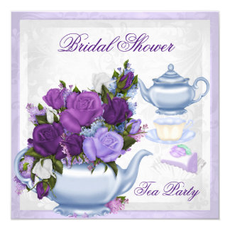 Bridal Shower Purple Blue Floral Tea Party Card