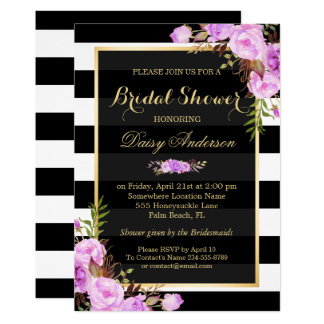 Bridal Shower Purple Floral Gold Frame Stripes Card