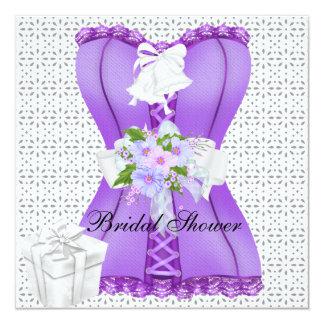 Bridal Shower Purple White Corset Flower 13 Cm X 13 Cm Square Invitation Card
