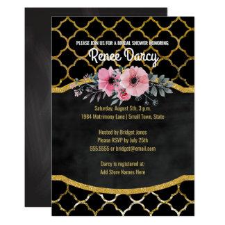 Bridal Shower Quatrefoil Elegant Gold   Chalkboard Card