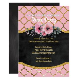 Bridal Shower Quatrefoil Pattern Elegant Gold Pink Card