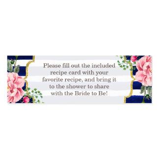 Bridal Shower Recipe Card Poem Floral Navy Stripes Pack Of Skinny Business Cards