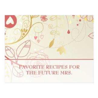 Bridal Shower Recipe Cards- Vintage Floral Postcard
