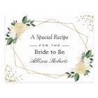 Bridal Shower Recipe Nature Green Gold Floral Postcard
