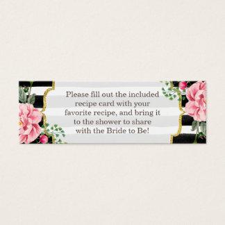 Bridal Shower Recipe Poem Pink Floral Stripes Mini Business Card