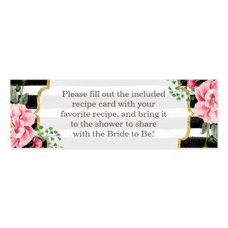 Bridal Shower Recipe Poem Pink Floral Stripes Pack Of Skinny Business Cards