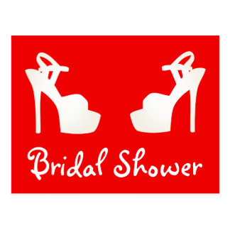 Bridal Shower Red And White High Heel Shoes Postcard