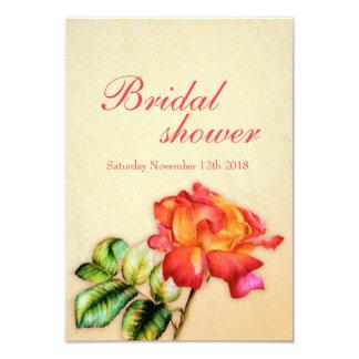Bridal Shower red orange yellow tea rose invite