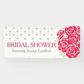 Bridal shower red roses personalized banner