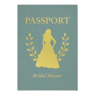Bridal Shower Retro Passport Card