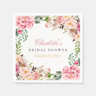 Bridal Shower Romantic Chic Floral Wreath Wrap Paper Napkin