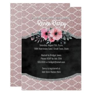Bridal Shower Rose Gold Quatrefoil   Chalkboard Card