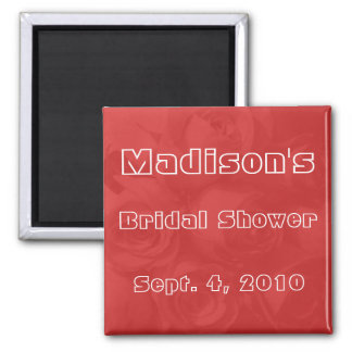 Bridal Shower - Roses w/ Name & Date Square Magnet