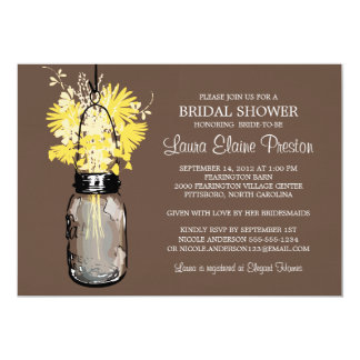 Bridal Shower Rustic Mason Jar Wildflowers Card