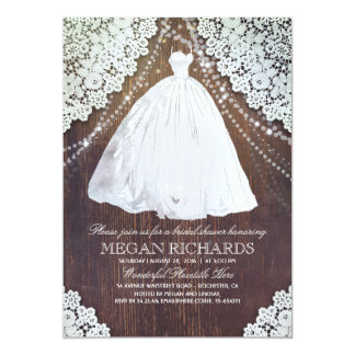 Bridal Shower | Rustic Wood | Lace | Wedding Gown Card