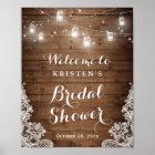 Bridal Shower Rustic Wood Mason Jar Lights Lace Poster