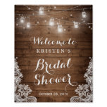 Bridal Shower Rustic Wood Mason Jar Lights Lace Poster