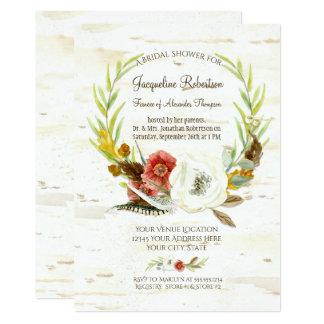 Bridal Shower Rustic Wreath Boho Feather Birch Card