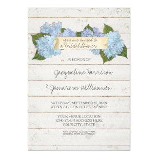 Bridal Shower Shiplap Wooden Board Blue Hydrangea 13 Cm X 18 Cm Invitation Card