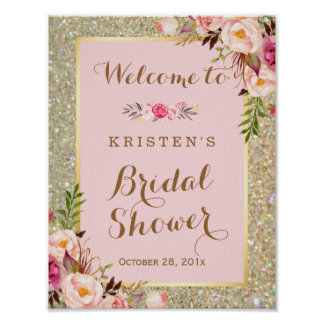 Bridal Shower Sign Gold Glitter Blush Pink Floral