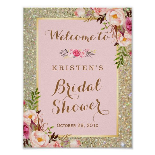 Bridal Shower Sign Gold Glitter Blush Pink Floral Poster