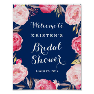Bridal Shower Sign Modern Navy Blue Floral Wreath Poster
