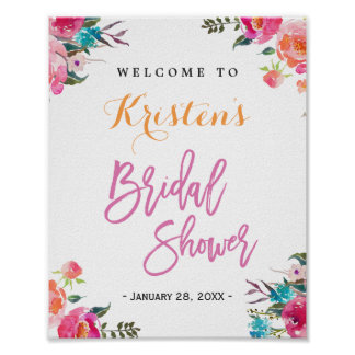 Bridal Shower Sign | Modern Watercolor Floral Poster