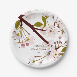 Bridal Shower Spring Cherry Blossoms 7in Plates 7 Inch Paper Plate