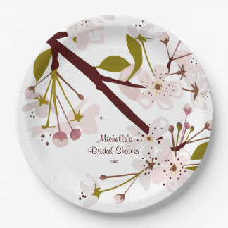 Bridal Shower Spring Cherry Blossoms Party Plates 9 Inch Paper Plate