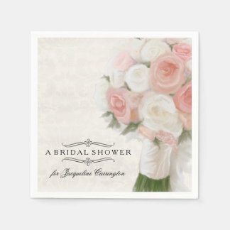 Bridal Shower Spring Roses Floral Modern Bouquet Disposable Napkin