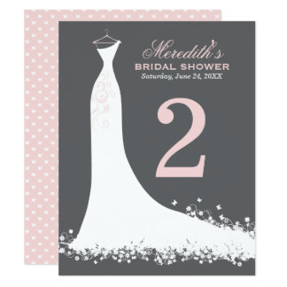 Bridal Shower Table Number Card | Wedding Gown 11 Cm X 14 Cm Invitation Card