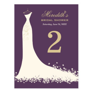 Bridal Shower Table Number Card | Wedding Gown Postcard