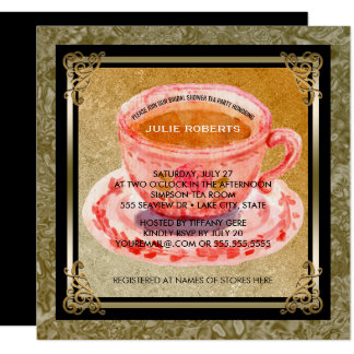 Bridal Shower Tea Party Elegant Gold Black Card