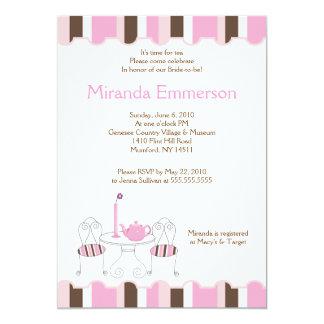 Bridal Shower Tea Party Pink Stripe 5x7 13 Cm X 18 Cm Invitation Card
