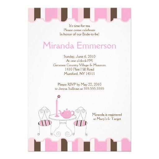 Bridal Shower Tea Party Pink Stripe 5x7 Custom Invitations