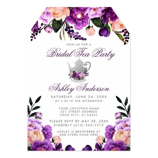Bridal Shower Tea Party Purple Violet Invite T
