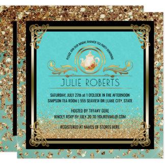 Bridal Shower Tea Party Tiffany Blue Gold Card