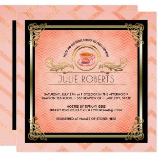 Bridal Shower Tea Party Tiffany Pink Chevrons Card