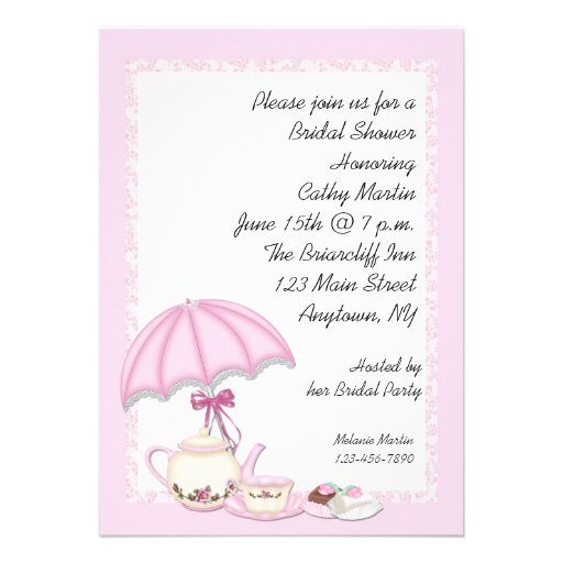 Bridal Shower Tea Pink Personalized Announcement
