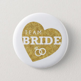 Bridal Shower Team Bride Gold Glitter Bachelorette 6 Cm Round Badge