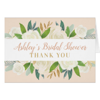 Bridal Shower Thank You | Blush Watercolor Blooms Card