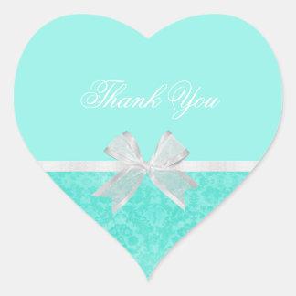 Bridal Shower Thank You Chic Aqua Damask White Bow Heart Sticker