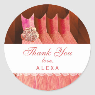 Bridal Shower Thank You CORAL Gowns V12 Round Sticker
