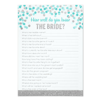 Bridal Shower Trivia Game ~ Silver and Turquoise Card